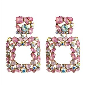 New Geometric Rhinestone Crystal Earrings